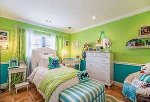 Traditional Kids Bedroom with terracotta tile floors, Helmer Wall Mirror by Decor Wonderland, Carpet, Crown molding