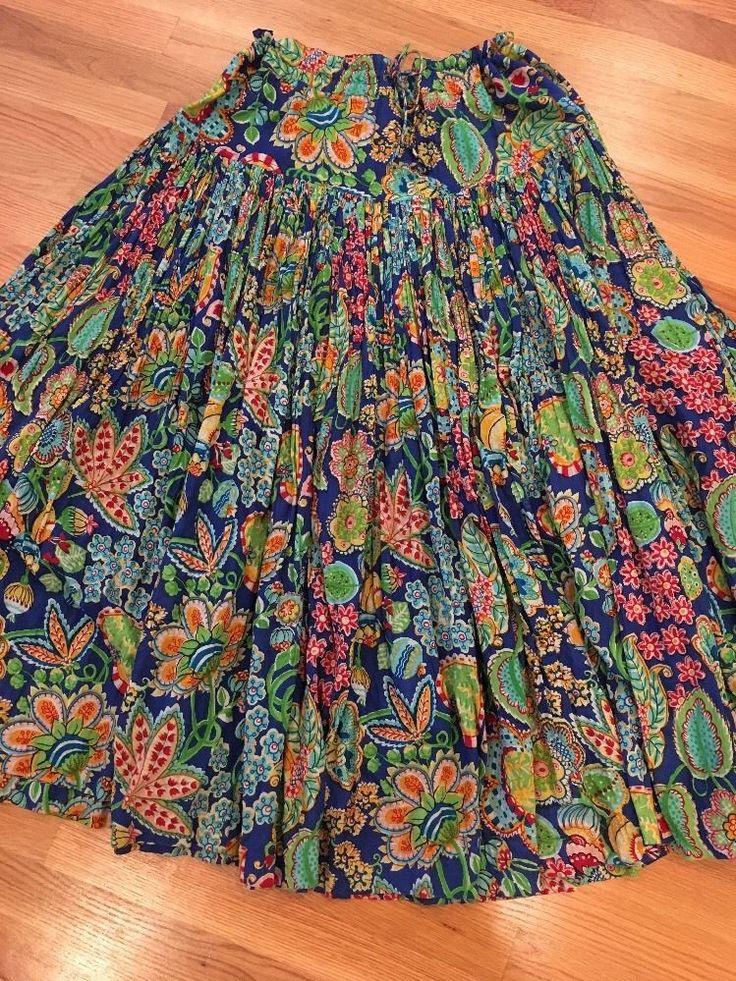 Oilily Long Full Bohemian Skirt Women's Large Drawstring Waist #Oilily #PeasantBoho