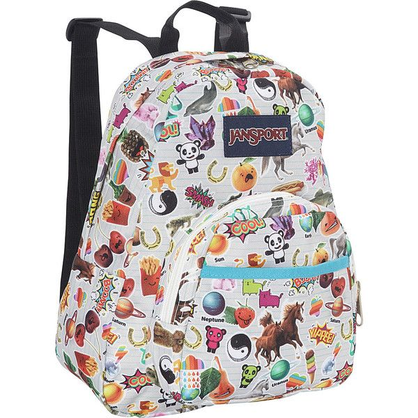 JanSport Half Pint Backpack- Discontinued Colors - Multi Stickers -... ($20) ❤ liked on Polyvore featuring bags, backpacks, white, sling backpack, white backpack, backpack sling bag, sling bag and jansport rucksack