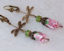 Vintage/ Victorian Style Dragonfly Handmade Lampwork Glass Earrings- Artisan Jewelry Gift for Her