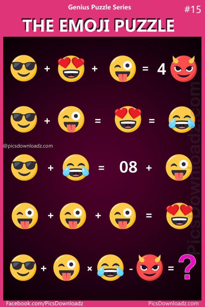 The Emoji Puzzle Genius Puzzle Series 14 15 Viral Facebook Puzzle Emoji Puzzle Maths Puzzles Emoji Math
