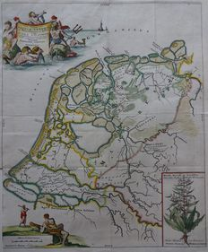 Kaart getekend door B Schotanus a Sterringa. Nederland in de Romeinse tijd