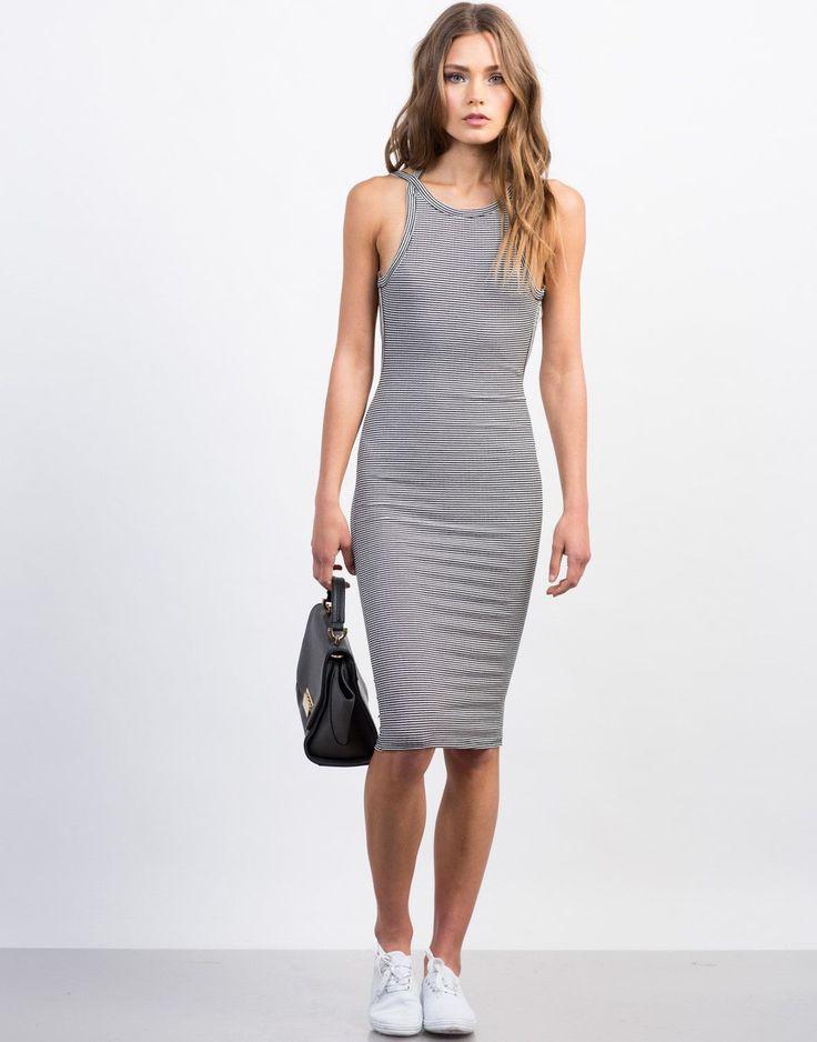 Striped Open Back Midi Bodycon Dress
