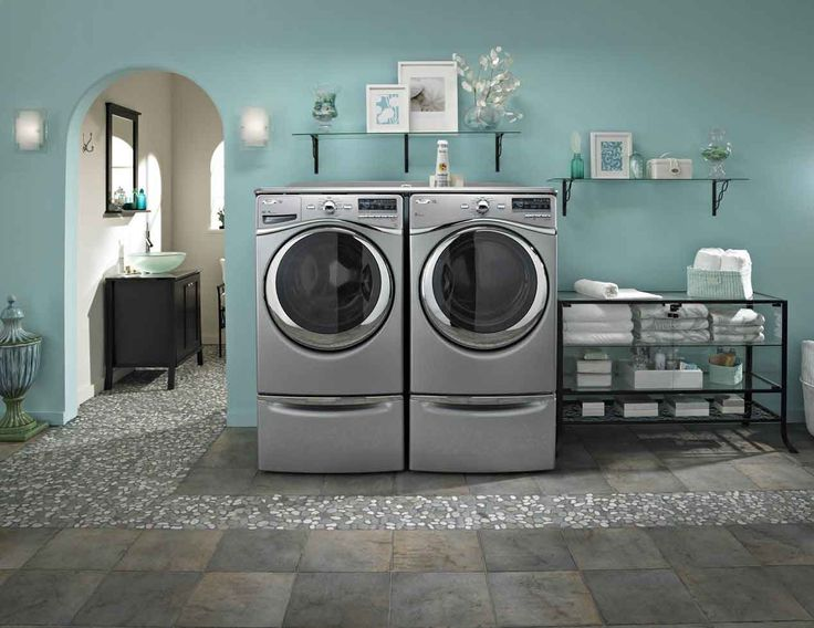 Laundry Room. Cool Sophisticated Washing Machine In Classic Home Interior  Design In Calm Blue Wall