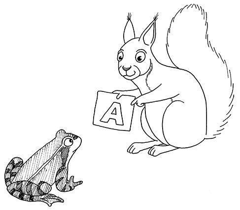 Kouluoppaan eläinkuvitus, orava ja sammakko