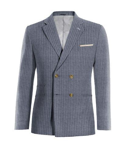 Blue double breasted striped linen Blazer - http://www.tailor4less.com/en-us/men/blazers/3270-blue-double-breasted-striped-linen-blazer?flush_memcached=1