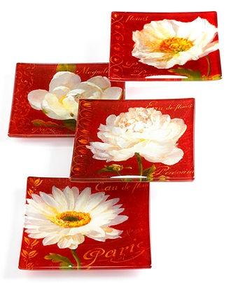 Prima Designs Serveware Set Of 4 Paris Blossom Appetizer Plates