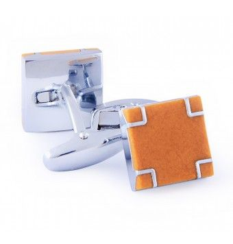 Sterling Silver Square Shape Ochre Cufflinks