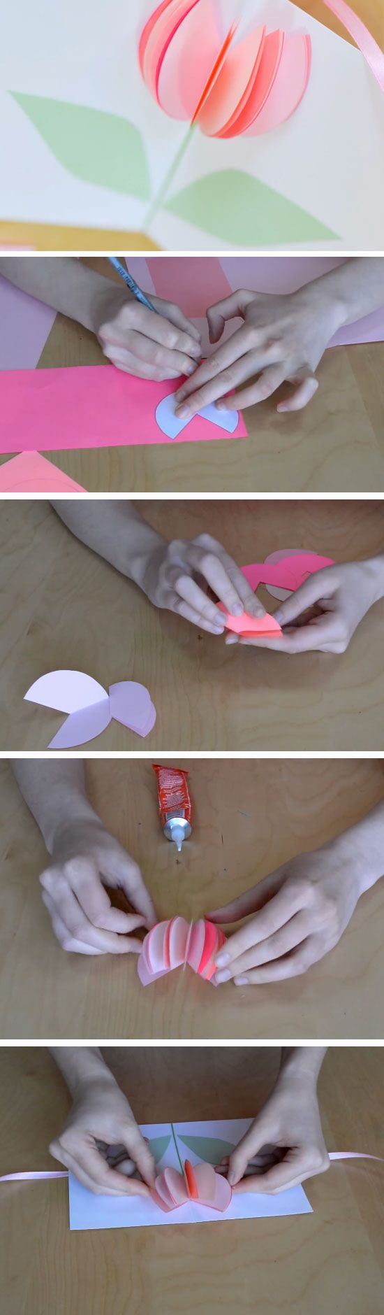 3D Tulip | DIY Mothers Day Card Ideas for Children | Easy Birthday Cards to Make for Mom