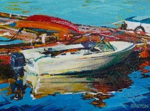 BOATS AT DOCK - oil on board, Harrison Galleries