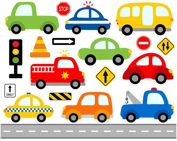 Cute Cars Digital Clip Art Transportation Road by YarkoDesign