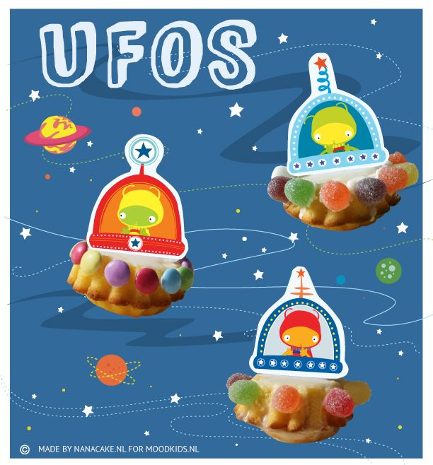 Traktaties - UFOs decorations for cupcakes