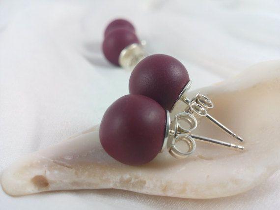 Single pearl stud earrings Polymer clay earrings by qbrixJewels