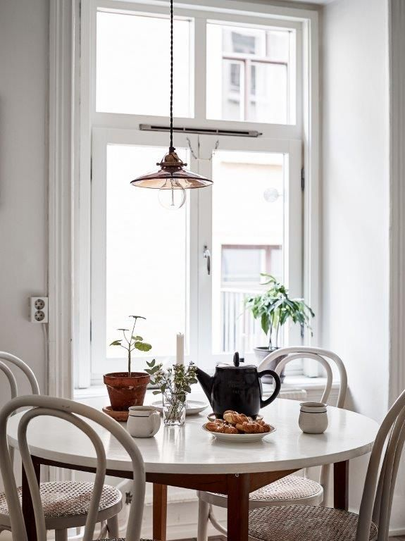 round dining table by the window