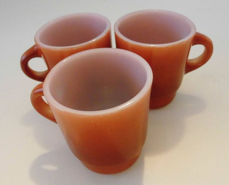 Vintage Fire-King Brown Mugs set of 3 Anchor Hocking Fireking cups Rusty brown i by flyingdollar on Etsy