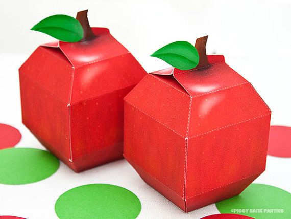 Apple Favor Box - DIY Printable PDF via Piggy Bank Parties Great for teachers, back-to-school parties, apple festivals and more!