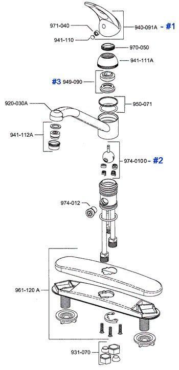 moen side handle kitchen faucet leaking single repair faucets double parts