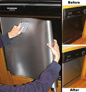 The Steampunk Home: Brassing up the old dishwasher w/ Contact Paper.