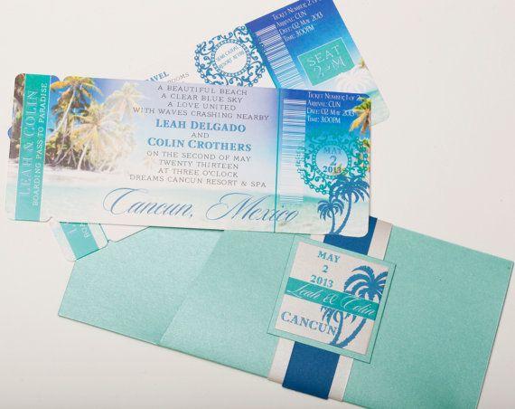 Boarding Pass Invitation or Save the Date (Shoreline Chic) Palm Tree Beach Invitation (Deposit/Design Fee)
