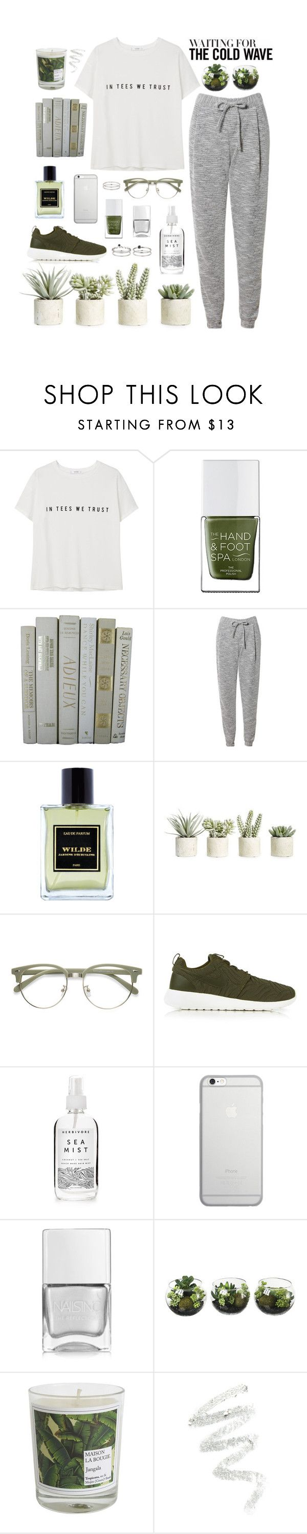 """""""i never needed you like i do right now"""" by fernweeh on Polyvore featuring moda, MANGO, Related, Jardins D'Écrivains, Allstate Floral, NIKE, Herbivore, Native Union, Nails Inc. i Maison La Bougie"""