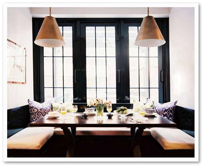 black trim around dining banquette windows