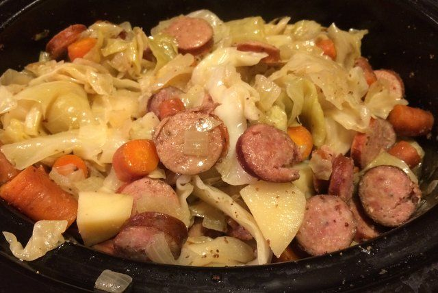 Crockpot Sausage and Cabbage