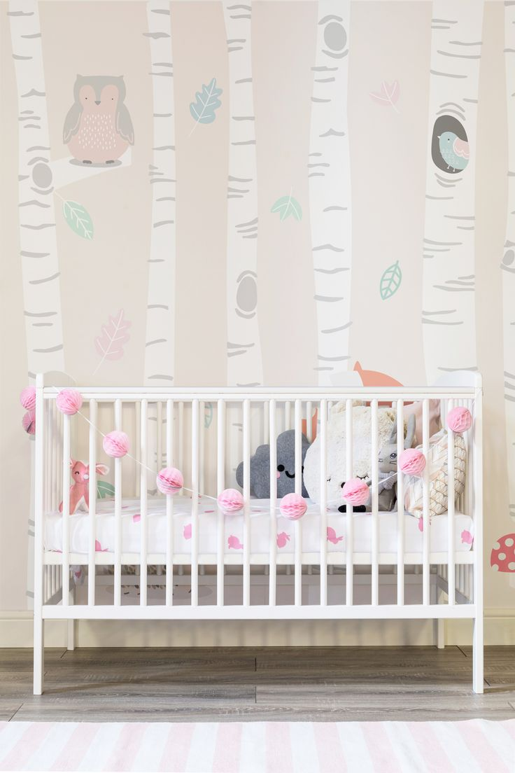 Stylish and sweet, this girl's nursery is brought to life with a beautiful woodland mural. Adorable woodland creatures are nestled amongst the trees and combined with soft dreamy pastel hues. Making the perfect backdrop to nursery and play spaces.