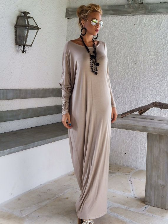 Beige Maxi Long Sleeve Dress / Beige Kaftan / Asymmetric Plus Size Dress / Oversize Loose Dress / #35047