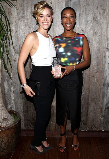 """""""Orange Is the New Black writer Lauren Morelli joined series star (and girlfriend) Samira Wiley at the OUT100 2014 bash (Wiley was one of the cover stars) in NYC Nov. 20."""""""