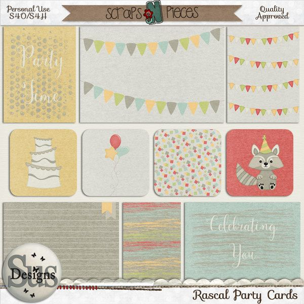 Rascal Party Cards #SusDesigns #DigiScrap #Scrapbook #ScrapsNPieces