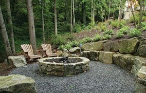 River Rock Fire Pit | ... the air, crackling flames in a backyard fire pit are a primal comfort