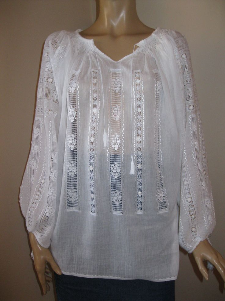 Romanian blouse - hand made lace with roses - size L by RealRomania on Etsy