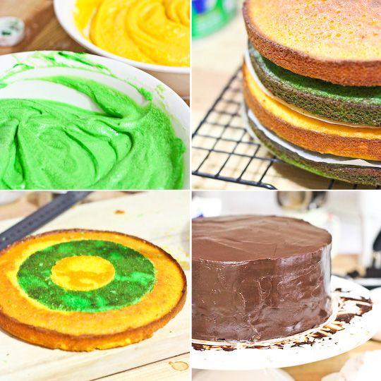 Green and Gold Checkerboard Cake with Milo Ganache.. Happy Australia Day!