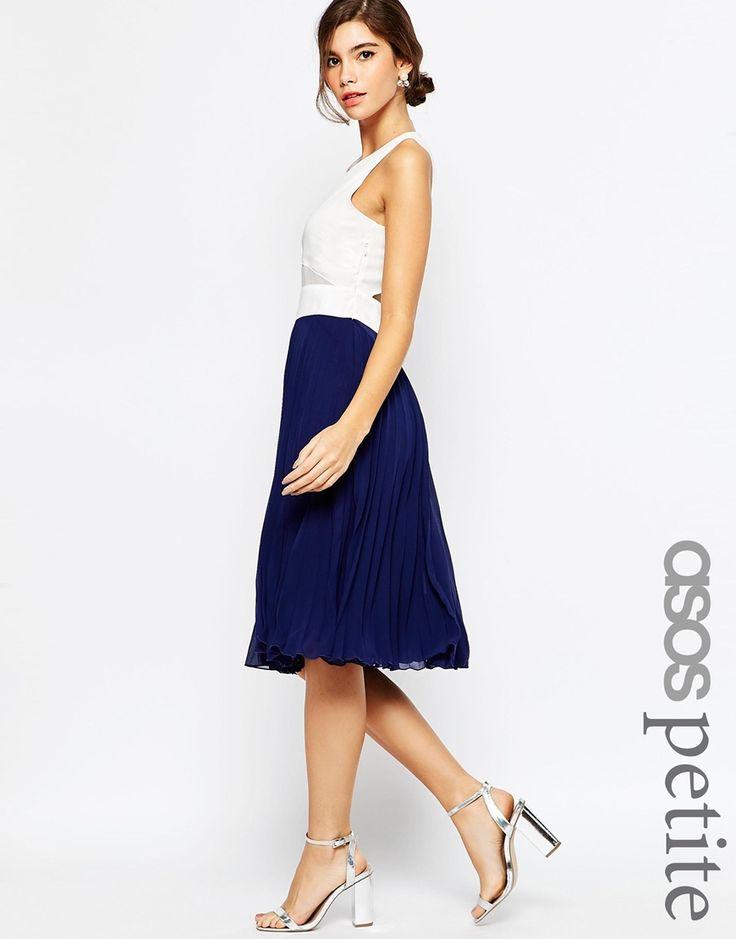 Image 1 ofASOS PETITE Sheer & Solid Pleated Midi Dress