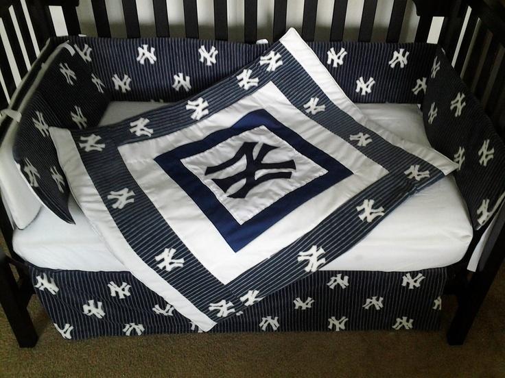 New Custom Made York Yankees Pinstripe Baby Crib Bedding Set With All NY Fabric