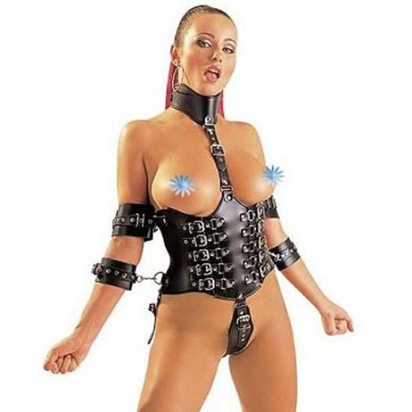 The ladies body harness simply looks amazing with it buckles, the black and the chrome.   Functional too as the arms will be tied to the sides in this one size fits most adjustable BDSM delight. Live out your fetish fantasies in BDStyle an affordable supplier of bondage gear for the budget conscious.  Adjustable Body Harness Length 26cm Width 65cm Adjustable Collar 35cm Wdth 8cm Adjustable Wrist Cuffs 23cm Width 6cm Adjustable Arms Binder 28cm Width 6cm