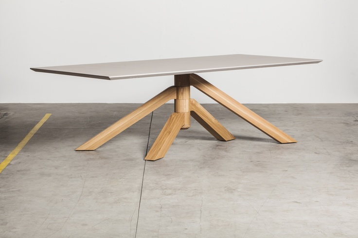 Keplero dining table, top in resin cement effect, oak base. Desing paolo Cappello 2013