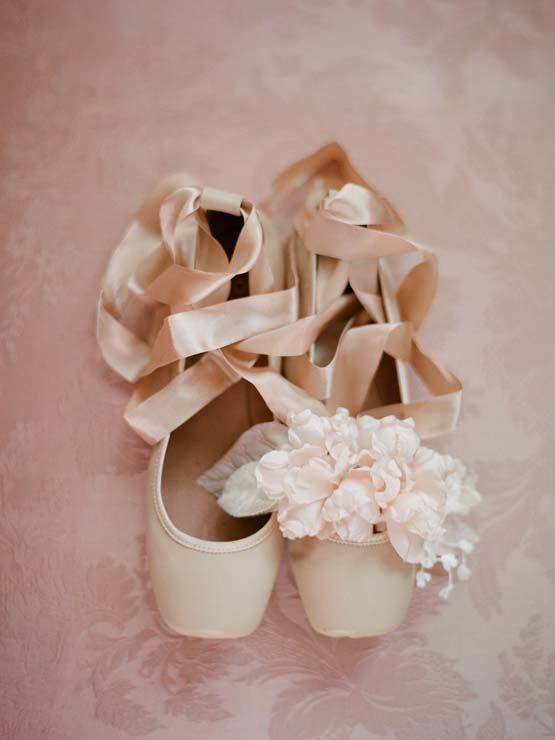 Sweet pale pink ballet flats with ribbon