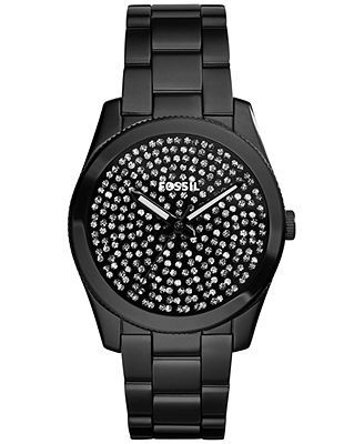 Fossil Women's Perfect Boyfriend Black Ion-Plated Stainless Steel Bracelet Watch 39mm ES3645