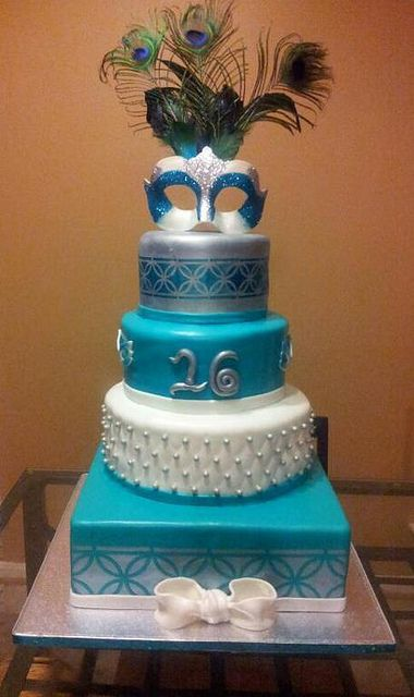 sweet 16 masquerade cake NO FEATHERS!  LOL!