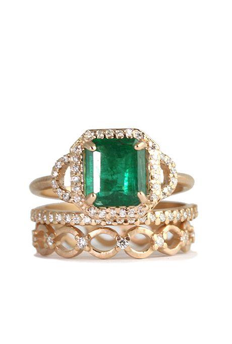 Brides.com: . Custom emerald ring with diamond halo in 18K rose gold, price upon request, Megan Thorne