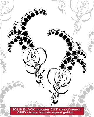 Lily of The Valley stencil from The Stencil Library VINTAGE range. Buy stencils online. Stencil code VN156.