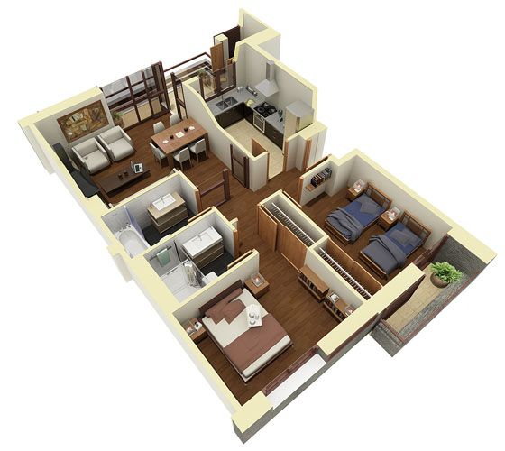 17 best images about 3d house plans floor plans on 2 bhk flat drawing