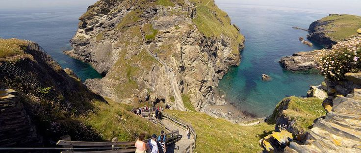 View of walkway and ruins of Tintagel Castle