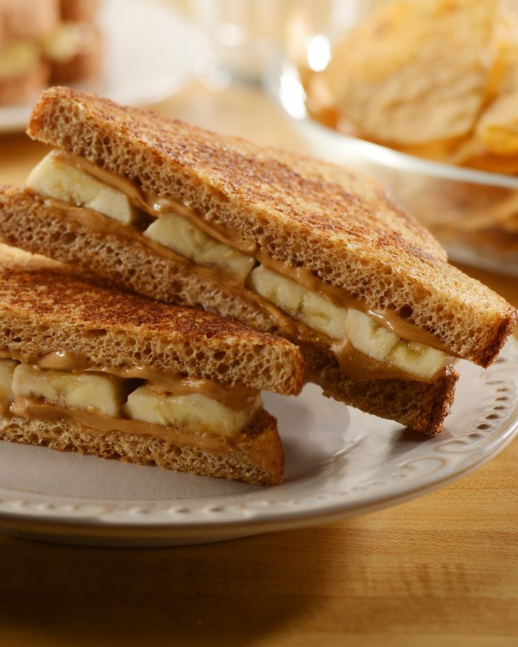 Grilled Peanut Butter Banana Sandwich | Easy & So Satisfying That Even Half a Sandwich Does The Trick-- & Slashes Calories! | Great Energy-Boosting Lunch | For more recipes, visit nationalpeanutboard.org #PeanutPower .client
