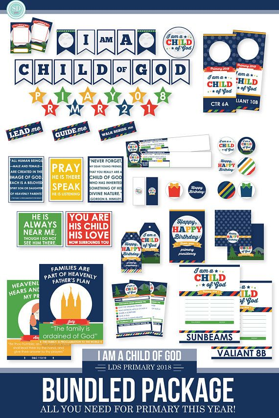 This 2018 LDS PRIMARY BUNDLED PACK has EVERYTHING you need for primary this year!  Heres whats included: *BULLETIN BOARD KIT includes:  -BANNER I am a child of God - Primary 2018 Pennants are 5 x 7 Stars are roughly 4 each  -HEADERS -Theme, Monthly Theme, Scripture, Article of Faith, Birthdays, Spotlights, Baptisms, Activity Days, Scouting  -QUOTES (5 total) 8.5 x 11  -I AM A CHILD OF GOD CARDS -Perfect for displaying pictures of the children in your primary! Cut and and a photo, or better…