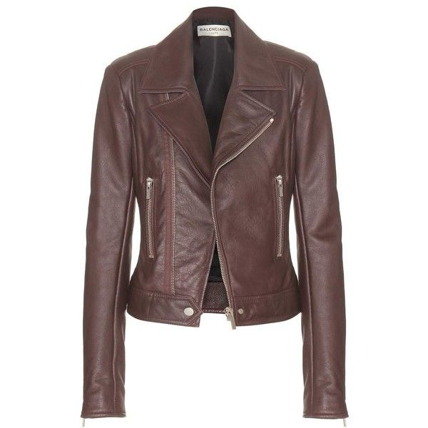 Balenciaga Leather Biker Jacket found on Polyvore featuring outerwear, jackets, coats, coats & jackets, leather jackets, brown, rider jacket, 100 leather jacket, brown motorcycle jacket and brown moto jacket