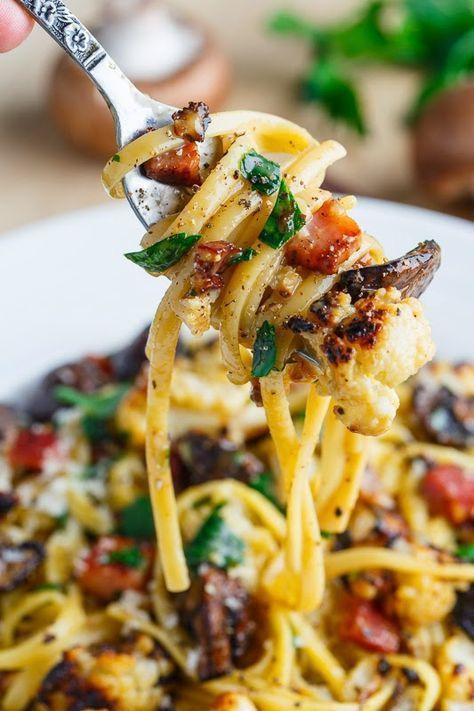 Roasted Cauliflower and Mushroom Carbonara by closetcooking #Pasta #Cauliflower #Mushroom