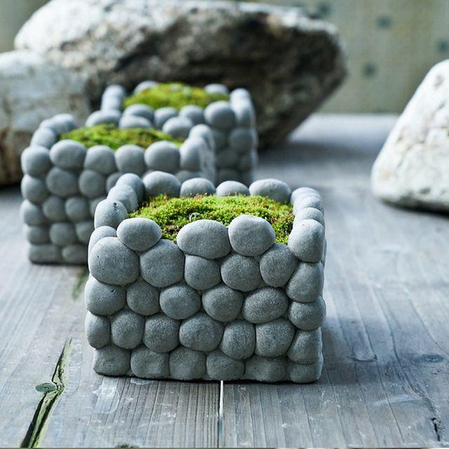 AIBEI-Kreative atmungs Stein Blumentopf Micro landschaft Quadrat Rechteck Sukkulenten Hydrokultur zement Kleinen Garten Töpfe