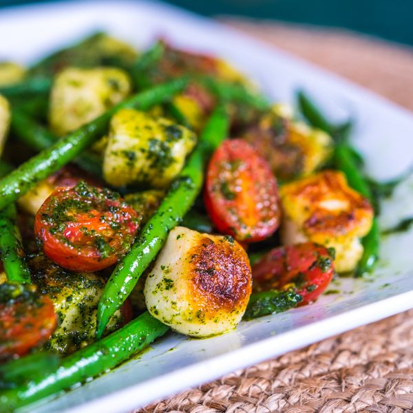 Pesto Gnocchi with Haricots Verts and Grape Tomatoes via @Bill Harris